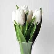 Цветы и флористика ручной работы. Ярмарка Мастеров - ручная работа Букет белых тюльпанов. Handmade.