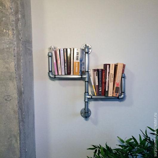 Мебель ручной работы. Ярмарка Мастеров - ручная работа. Купить Полка для книг. Handmade. Серый, полка настенная, металл