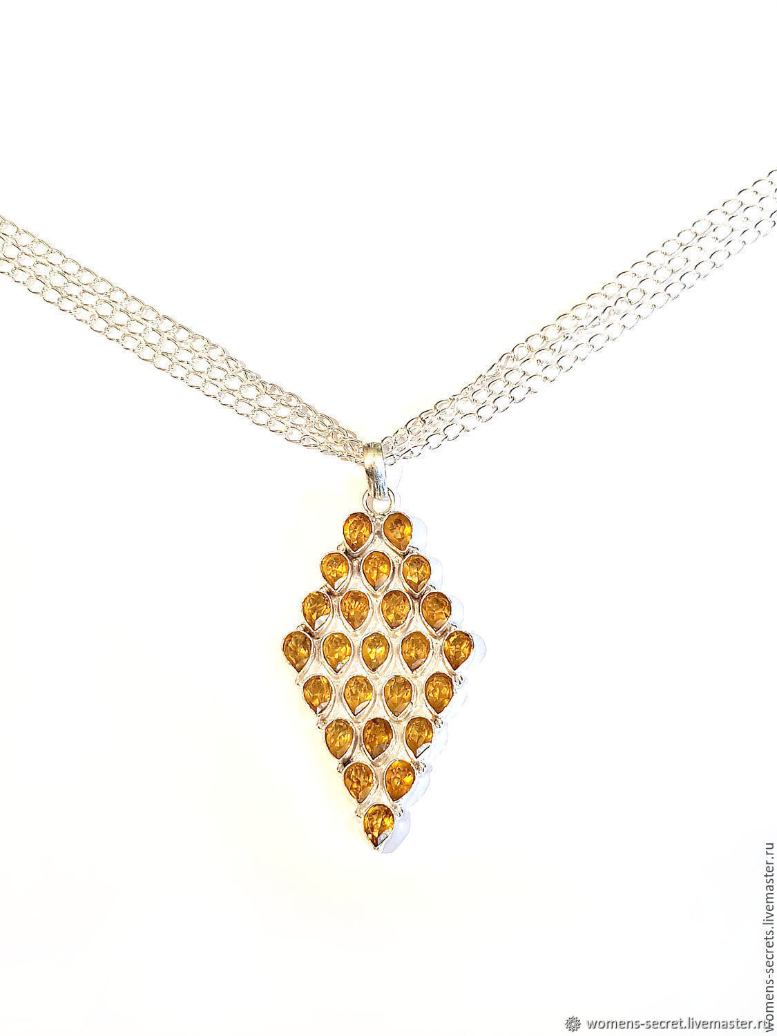 "Pendant with chain ""honey Drop"", citrine, Necklace, Moscow,  Фото №1"