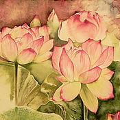 Картины и панно handmade. Livemaster - original item Lotus watercolor painting. Handmade.