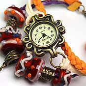 """Украшения ручной работы. Ярмарка Мастеров - ручная работа """"Карамельный рай"""" Часы наручные женские с авторскими бусинами lampwork. Handmade."""