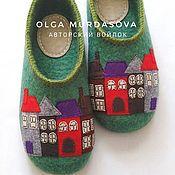 Обувь ручной работы handmade. Livemaster - original item Women`s felted Slippers Houses. Handmade.