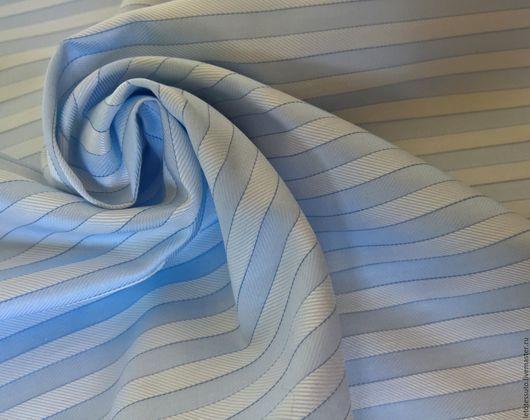 Шитье ручной работы. Ярмарка Мастеров - ручная работа. Купить Итальянский сорочечный хлопок голубая полоска. Handmade. Голубой