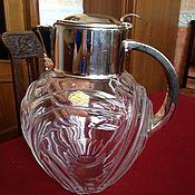 Винтажный хрустальный кувшин для напитков, металлическая оправа
