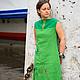 """Платья ручной работы. Платье-бохо """" Оттенки зеленого"""". Алена (indeeza). Ярмарка Мастеров. Птицы, лён"""