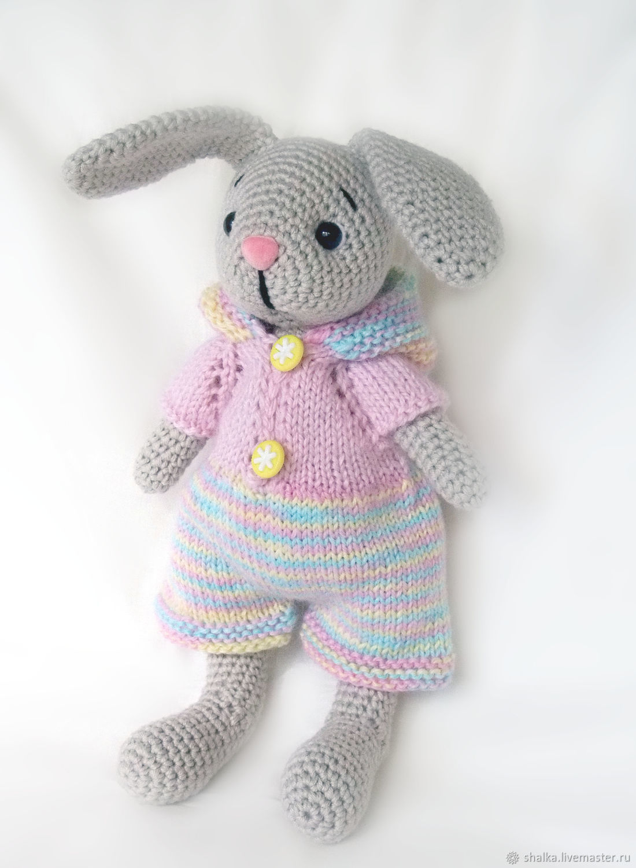 Заяц в разноцветном комбинезоне, Мягкие игрушки, Санкт-Петербург,  Фото №1