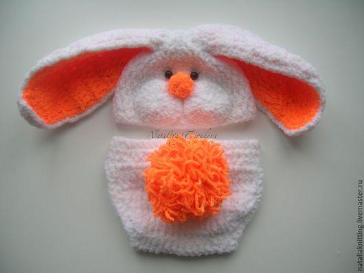 """Для новорожденных, ручной работы. Ярмарка Мастеров - ручная работа. Купить """"Зайка плюшевая"""" для фотосессии. Handmade. Белый, зайцы"""