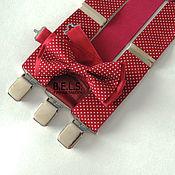 Ремни ручной работы. Ярмарка Мастеров - ручная работа Комплект бабочка-галстук и подтяжки бордо в горошек, хлопок. Handmade.