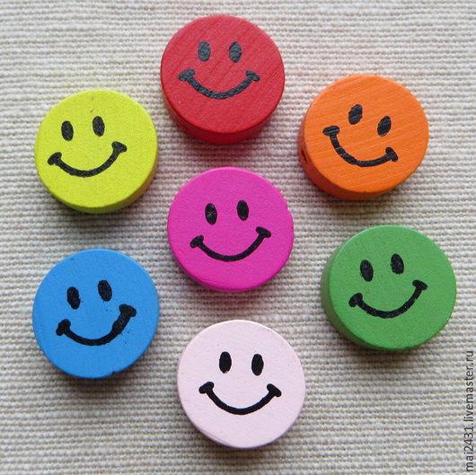 Бусины деревянные круглые смайлики с улыбкой