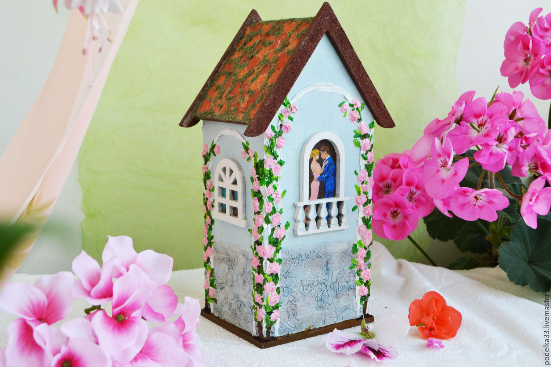 Tea bags holder, tea house box, tea bag storage Melody of love, gift, Houses, Moscow,  Фото №1
