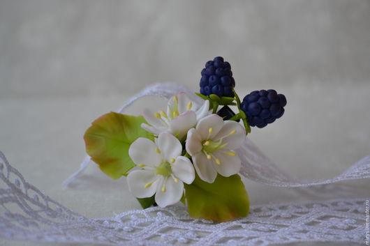 Заколки ручной работы. Ярмарка Мастеров - ручная работа. Купить Заколочка с ежевичкой. Handmade. Тёмно-синий, цветы из полимерной глины