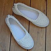 Обувь ручной работы. Ярмарка Мастеров - ручная работа Балетки уличные Белый лен. Handmade.