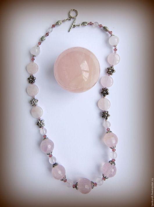 """Колье, бусы ручной работы. Ярмарка Мастеров - ручная работа. Купить Колье из розового кварца """"Нежность"""". Handmade. Розовый"""