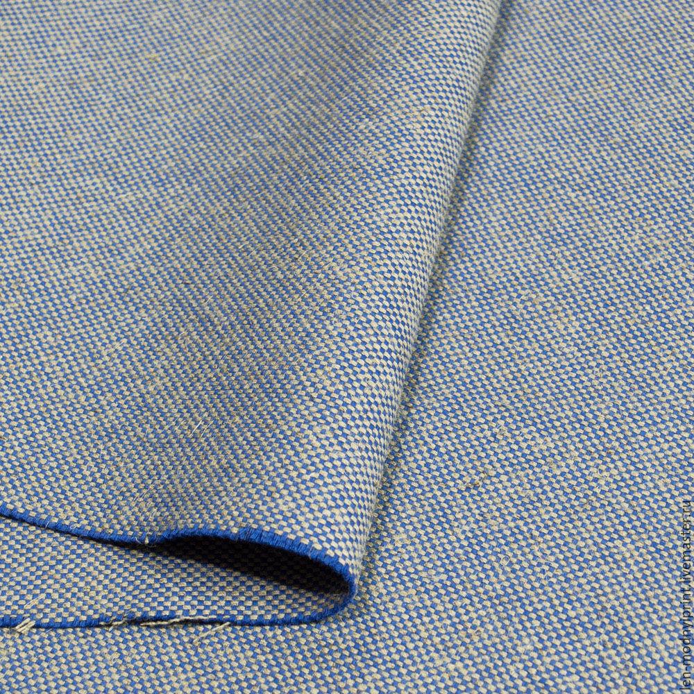 Ткань льняная мебельная Синий