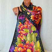 Аксессуары handmade. Livemaster - original item silk scarf batik Peonies on black. Handmade.