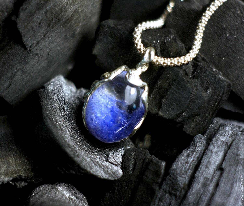 Pendant 'Breath of the sea' with Dumortierite in quartz, Pendants, Moscow,  Фото №1