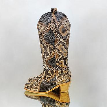 Обувь ручной работы. Ярмарка Мастеров - ручная работа Ковбойские сапоги из питона женские COSSACK. Handmade.