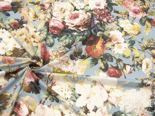 Шитье ручной работы. Ярмарка Мастеров - ручная работа. Купить Новинка ! Ткань хлопок  стрейч  Цветы , цветы, голубой. Handmade.