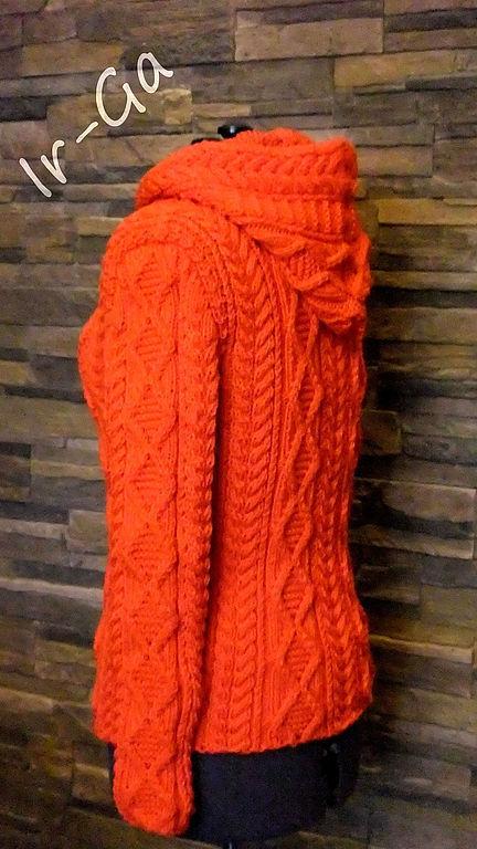 """Кофты и свитера ручной работы. Ярмарка Мастеров - ручная работа. Купить Свитер-куртка с капюшоном """"Анды"""". Handmade. Рыжий, теплый"""