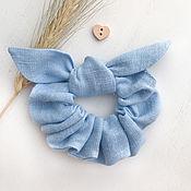 Украшения handmade. Livemaster - original item Fabric volume elastic band for hair, color blue. Handmade.