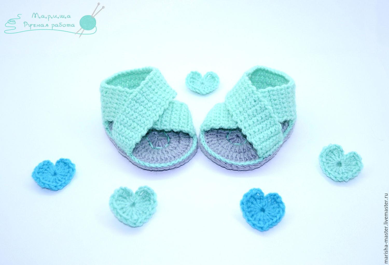 Вязанье для новорожденных пинетки крючком 82