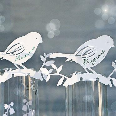 """Свадебный салон ручной работы. Ярмарка Мастеров - ручная работа """"Трели"""" рассадочная карточка на бокал. Handmade."""