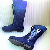 """Обувь ручной работы. Ярмарка Мастеров - ручная работа Валяные сапожки """"Синева небес"""". Handmade."""