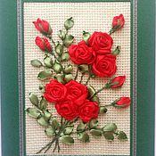 """Открытки ручной работы. Ярмарка Мастеров - ручная работа Открытка вышитая лентами """"Букет роз"""". Handmade."""