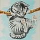 """Животные ручной работы. Ярмарка Мастеров - ручная работа. Купить Картина на шелке """"Держись, малыш!.."""". Handmade. Картина в детскую"""