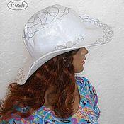 """Аксессуары ручной работы. Ярмарка Мастеров - ручная работа Летняя шляпа """"Серебро"""" женская льняная. Handmade."""