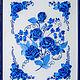 """Символизм ручной работы. Ярмарка Мастеров - ручная работа. Купить Картина лентами """"Гжель"""". Handmade. Белый, бело-голубой"""