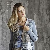 Одежда ручной работы. Ярмарка Мастеров - ручная работа Женский голубой валяный жилет шерстяной пэчворк  Blue jeans. Handmade.