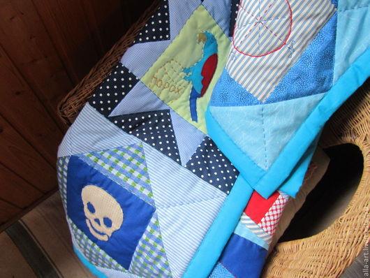 Детская ручной работы. Ярмарка Мастеров - ручная работа. Купить Пиратский фрегат, покрывало. Handmade. Веселый роджер, хлопок