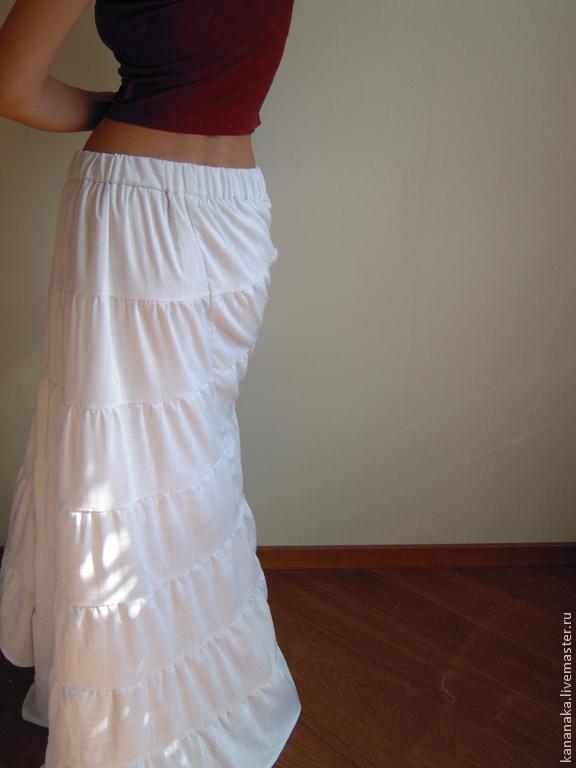 Белая длинная юбка в пол купить в