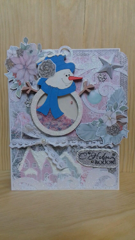 Новогодний снеговик с шейкером, Открытки, Тула, Фото №1