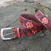 Аксессуары ручной работы. Ярмарка Мастеров - ручная работа Ремень кожаный Розы. Handmade.