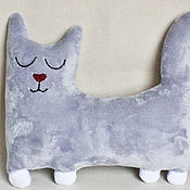 Stuffed Toys handmade. Livemaster - original item Interior soft toy Sleepy cat made of artificial fur. Handmade.