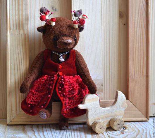 Мишка Тедди  Тедди Медведь Интерьерная игрушка ` Земляника` Коллекционная игрушка ручной работы Teddy Forest