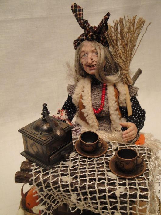 Коллекционные куклы ручной работы. Ярмарка Мастеров - ручная работа. Купить Баба Яга  Угощайтесь.... Handmade. Серый, полимерная глина