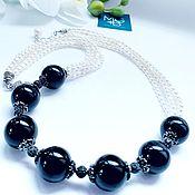 Украшения handmade. Livemaster - original item Necklace with pearls and a hawk`s eye. Handmade.