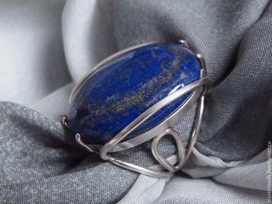 Кольца ручной работы. Ярмарка Мастеров - ручная работа. Купить Кольцо с лазуритом. Handmade. Тёмно-синий, крупное кольцо
