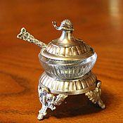 handmade. Livemaster - original item Charming salt shaker with lid, silver plated, France?. Handmade.