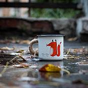 """Кружки винтажные ручной работы. Ярмарка Мастеров - ручная работа Эмалированная кружка TRAP """"Лиса Фр-Фр"""". Handmade."""