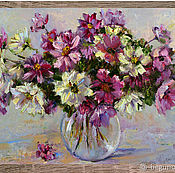 Картины и панно handmade. Livemaster - original item Oil painting on canvas flowers Cosmos, flowers in a vase. Handmade.
