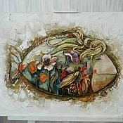 """Картины и панно ручной работы. Ярмарка Мастеров - ручная работа Картина """"Цветочная рыба I"""". Handmade."""