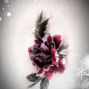 Украшения ручной работы. Ярмарка Мастеров - ручная работа Броши: Кожаная роза в инее - «Первые заморозки». Handmade.