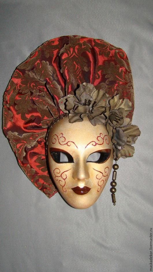Интерьерные  маски ручной работы. Ярмарка Мастеров - ручная работа. Купить Паолина. Handmade. Бордовый, декоративная маска, подарок, ткань