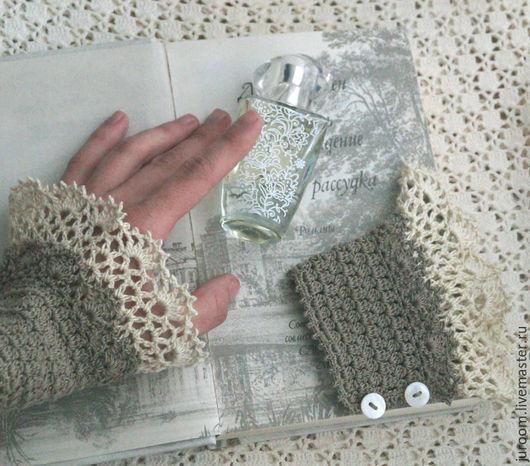 Варежки, митенки, перчатки ручной работы. Ярмарка Мастеров - ручная работа. Купить Манжеты-браслеты-митенки ажурные в бохо стиле Полынь. Handmade.