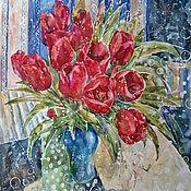 Картины и панно handmade. Livemaster - original item Painting with watercolors And I heart nice tulips. Handmade.