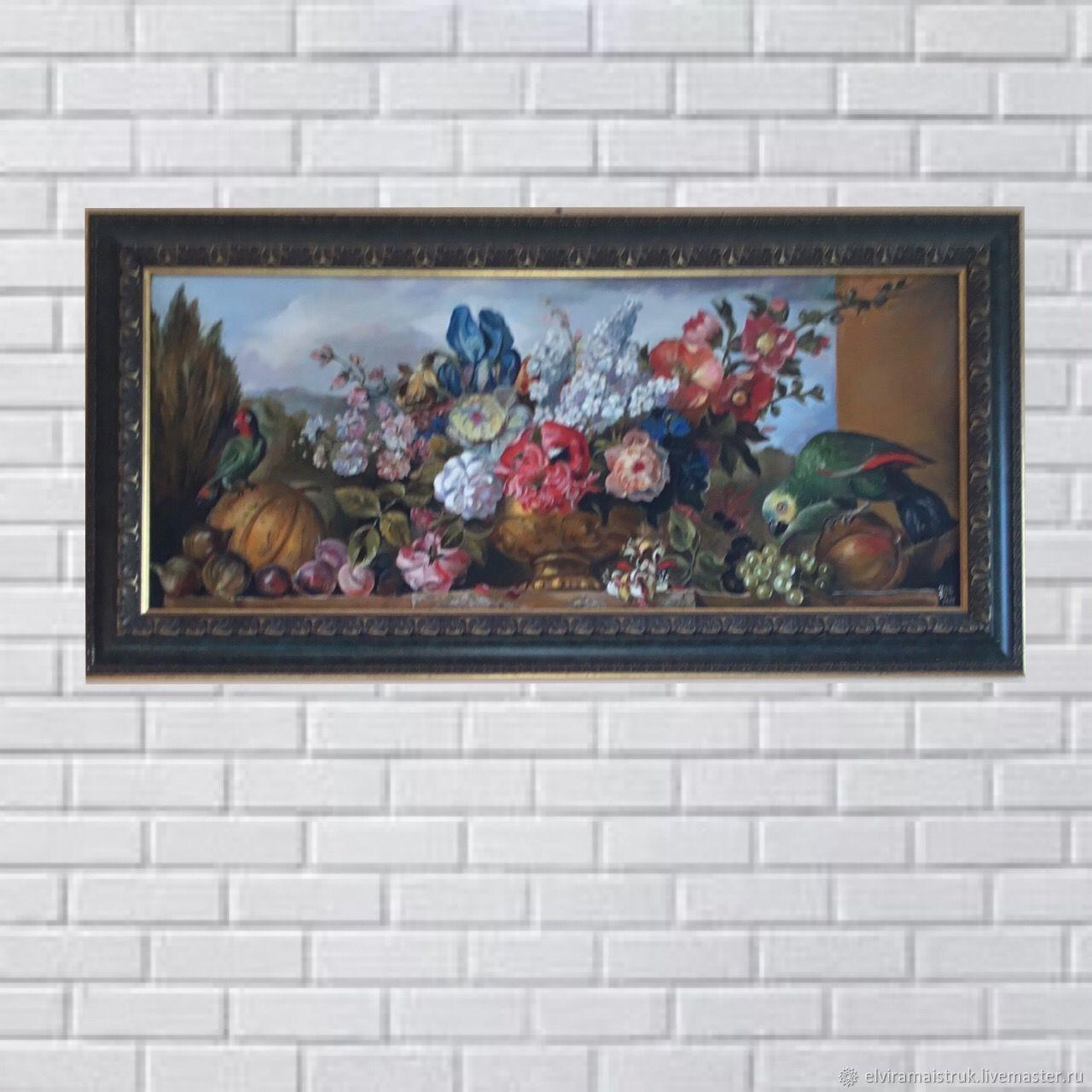 Картина маслом цветы и попугаи, Иллюстрации, Санкт-Петербург,  Фото №1